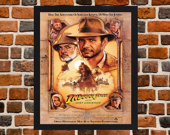 Framed Indiana Jones and the Last Crusade Movie / Film Poster A3 Size Mounted In Black Or White Frame