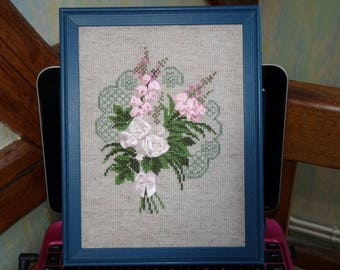 Picture embroidered bouquet of lupins ribbons