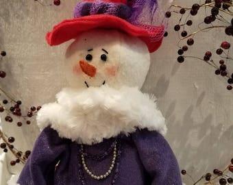 Red Hat Snow Lady,Red Hat,Snow Lady,Snow Lady,Country snow lady,Primitive snow doll,Winter decor,Holiday decor,Christmas decor