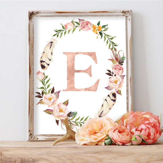Floral Wreath Print, Floral Monogram, Custom Monogram Wall Art, Customized Monogram, Girls Nursery Print, Girls Monogram,Girls Initial Print