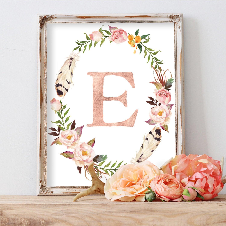 Shop Floral Monograms At Littlebrownnest Etsy Com: Floral Wreath Print Floral Monogram Custom Monogram Wall