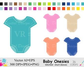 Baby Onesies Clip Art, Baby Shower Clipart, Rainbow Onesies Clipart, Planner Stickers Clipart, Instant Digital Download Vector Clip Art