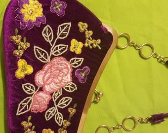 Embroidered, beaded, colorful hand purse