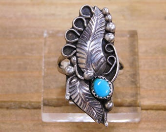 Sterling Silver Large Adorned Leaves Turquoise Stone Ring Size 7