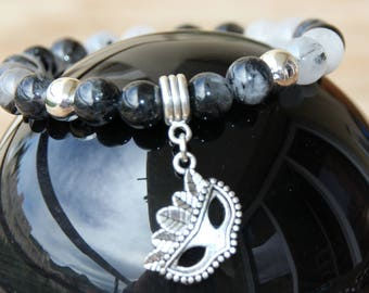 quartz tourmaline on elastic bracelet