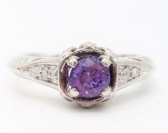 Purple Sapphire, 18K White Gold & Diamonds Vintage Engagement Ring - Size 6, Resizable