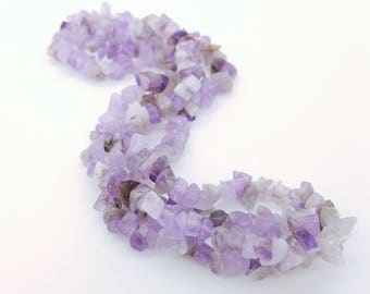 """Amethyst Beaded  Strand Necklace - 34"""""""