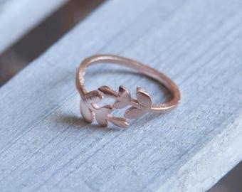 Rose Gold Branch Ring, Rose Gold Leaf Ring, Rose Gold Ring, Boho Rose Gold Ring, Adjustable Boho Ring, Boho Stacking Ring, Stacking Ring