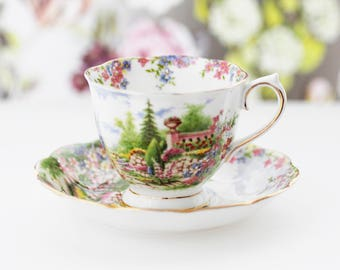 "Royal Albert  TEACUP and saucer ""Kentish Rockery"", c1950s, Countess-shape."