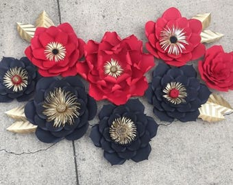 Set of 8 Red black and gold paper flowers