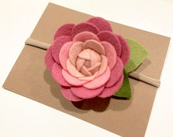 Baby / Girl Rose Felt Flower Headband - Ready To Ship