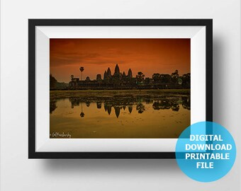 Digital Download, Angkor Wat Temple Skyline, Cambodia Photography, Asia Wall Art, Cambodia Print Art, Prints Digital, Printable Angkor Wat