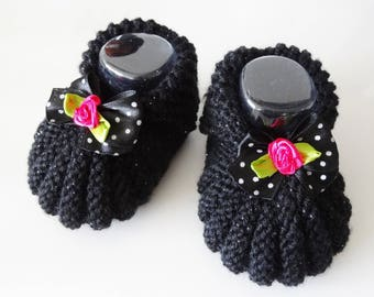 Small black 1-3 months baby shoes hand - made black slippers with bow baby