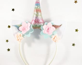 Rainbow Unicorn Horn Headband - Unicorn Photo Prop - Rainbow Unicorn Birthday