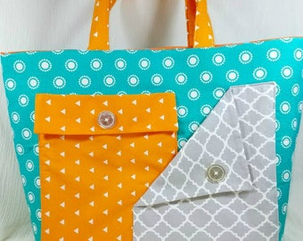 Professional tote - Womens tote - Tote bag - Teacher bag - Large tote - Large purse - Teacher tote -  Fabric tote - Classy tote - Diaper bag