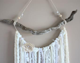 Cream White Yarn Hanging-Driftwood Yarn Wall Hanging-Bohemian Decor-Boho Chic Nursery-Cream White Tapestry-Photography Backdrop