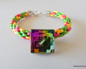 Braided beaded multicolor kumihimo pink yellow green iridescent button