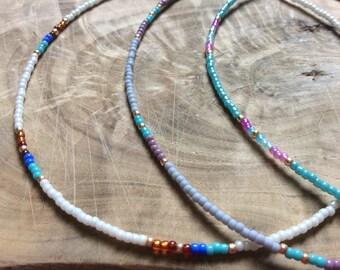 Choice of 3, seed bead choker, grey bead choker, turquoise choker, pastel choker, southwestern bead choker, simple seed bead choker