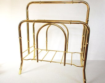 Mid Century Faux Bamboo Magazine Rack, Magazine Holder, Hollywood Regency, Gold Tone Brass Finish Metal, Vintage Gold Bamboo Magazine Rack