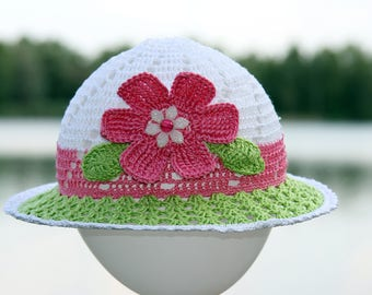 Sun brim hat with flower Crochet baby girl summer hat Beach hat Crochet girl hat Pink flower Crochet flower Brim hat White green hat Sun hat