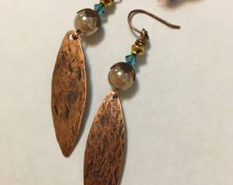 Copper oval Dangle Earrings