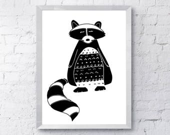 Black and White, Racoon, Scandinavian style art, Monochrome, Nursery decor, Baby's room, Wall art, Printable, instant download