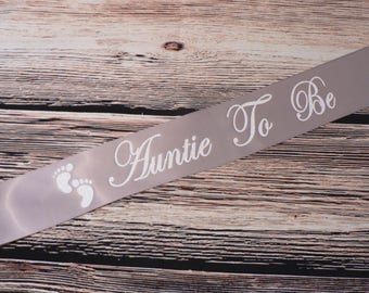 Auntie To Be Sash, Custom Aunt To Be Sash, Glitter Auntie To Be Sash, Baby Shower Sash, Baby Feet Sash, Baby Shower Decor, Auntie Sash
