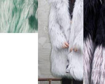 LONG fur coat -Mongolian Lamb faux fur coat- Faux fur  winter coat-  exotic fur jacket- Gray Shaggy Faux Fur- boho fur coat