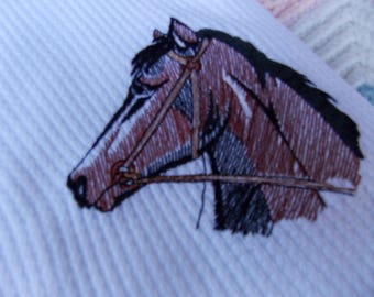 NEWBORN BABY RECEIVING Swaddling Blanket English Bay Horse with Bridle Embroidered