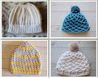 Bun Beanie Pattern, Crochet Pattern, Beanie Pattern, Crochet, Patterns, Hat Pattern, PDF Patterns, Ponytail Hat Pattern, Boy Patterns