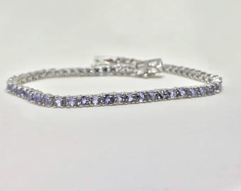 Sterling Silver Link Bracelet Natural Tanzanite (4.00 ct) Bracelet, Appraised 625 USD