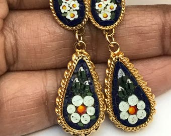 Vintage Dangle Earrings  - Micro Mosaic . Victorian revival Jewelry