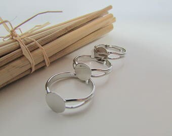 6 rings personalized with support for 8 mm round cabochon - 2.24