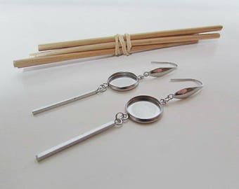 2 cabochon setting 12 mm - earring hook - stainless steel - 129.53