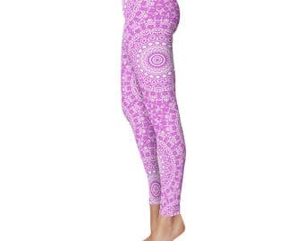 Leggings Yoga Pants - Orchid Leggings, Purple and White Printed Leggings, Mandala Art Tights, Purple Stretch Pants