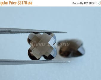ON SALE Smoky Quartz 10 MM Faceted  Flower Briolette Drops . Gems for Fine Jewelry. Sold per Pair.