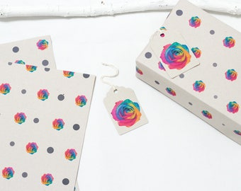 Rainbow Rose  Polka Dot Gift Wrapping Paper.