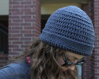 Grey Crochet Adult Beanie Hat