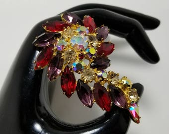 Red And Purple Rhinestone Brooch