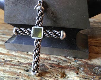 Viking Cross pendant sterling silver amber