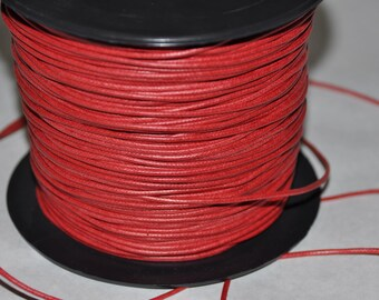 Red 1.9 mm cord for jewelry making waxed cotton