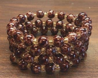 Brown and Tan Wrap Bracelet