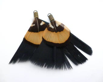 "Black and Brown Feathers Charm_ PA00252964/3541_Feathers_ Black/brown of 50/ 60 mm /2,75"" _ pack 6 pcs"