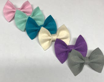 Mini Felt Bow Clips