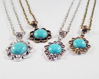 5 models Necklaces Pendants silver Cabochon Turquoise Bohemian Bronze / 5 Style Bronze Buddha Howlite Cabochon Bohemian Necklace Silver