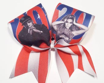 Jay-Z Beyonce 2020 Cheer Bow- 3 Inch Texas Sized - Cheer Party - Theme Practice - Birthday Gift - Ponytail Accessory