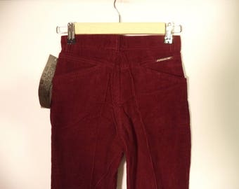 70s-80s NEW high waist JORDACHE pants// Corduroy red wine skinny// Dead stock vintage // Girls 8 10 12 / women 2 pair xs-small 2 4 us/ 26 27
