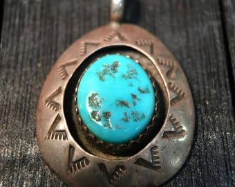 Vintage Navajo Teddy Goodluck Turquoise and Silver shadowbox necklace pendant #065