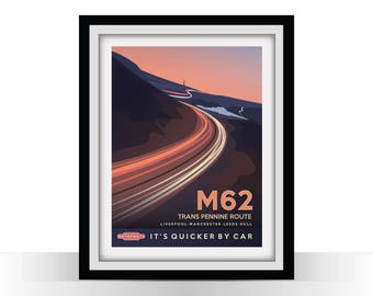 M62 - Retro Travel Poster - Liverpool Manchester Leeds Hull