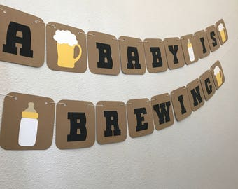 A Baby Is Brewing Banner - Co-Ed Baby Shower, Coed Baby Sprinkle, Pregnancy Announcement, Baby Bottle, Beer Mug